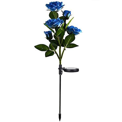 Lumière Solaire Extérieur Jardin, XVZ Lampes LED Rose solaires avec plus grande fleur et large panneau solaire, étanche Deco Jardin Exterieur pour jardin, pelouse, terrasse, chemin ( bleu )