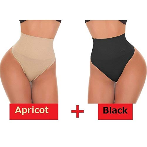 Rugsteungordel Sexy Thong Shapewear Butt Lifter Vrouwen High Waist Trainer Tummy Controle Panties Knicker Afslanken Ondergoed Cincher Gordel brace Lumbale (Color : Black Apricot, Size : XXL)