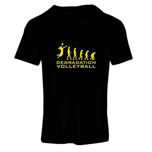 lepni.me T-Shirt Femme Dégradation du Jeu de Volley-Ball, Cadeau d'humour pour Joueur de Sport (Small Noir Jaune)