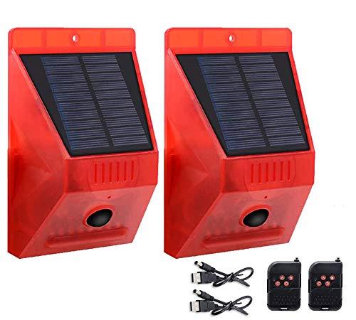 Luces Estroboscópicas Solares IP65 Impermeable Sensor de Movimiento Alarma de Seguridad Emergencia LED Lámpara Estroboscópica de Advertencia para Granja Villa Apartamento Patio Exterior (2 piezas)