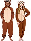 Silver Lilly Slim Fit Animal Pajamas - Adult One Piece Cosplay Monkey Costume (Brown, Large)