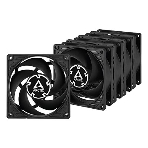 ARCTIC P8 (Pacco da 5) - 80 mm Ventola, Silenziosa per CPU, Ottimizzata per la Pressione Statica, Velocità 3000 RPM, 0,3 Sone - Nero