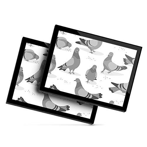 Destination - Mantel individual de vinilo (20 x 25 cm), diseño de pájaro de paloma, diseño de dibujos animados, color blanco