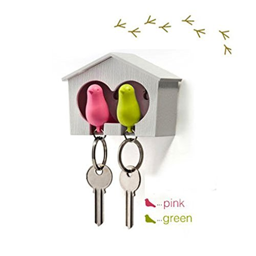 ReachTop Novelty Sparrow Birdhouse KeyChain Key Ring Holder Hook Whistle for Couple Home Living Room Decorative