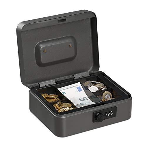 Relaxdays Cassetta con Combinazione, 3 Cifre, Porta Soldi, Valigetta in Ferro, Portavalori, 8,5x20x17 cm, grigio