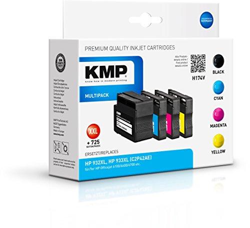 KMP Druckerkartusche für HP Officejet 6100/6600/6700 Schwarz, Cyan, Magenta, Gelb - Kompatibel - Tintenpatrone für HP 932XL, HP933XL - Office Druckerzubehör