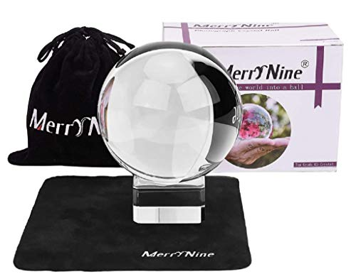 MerryNine K9 Crystal Ball, Photograph Crystal Ball with Stand and Pouch, K9 Crystal Sunshine Catchers Ball with Microfiber Pouch, Decorative and Photography Accessory (80mm/3.15' Set, K9 Clear)