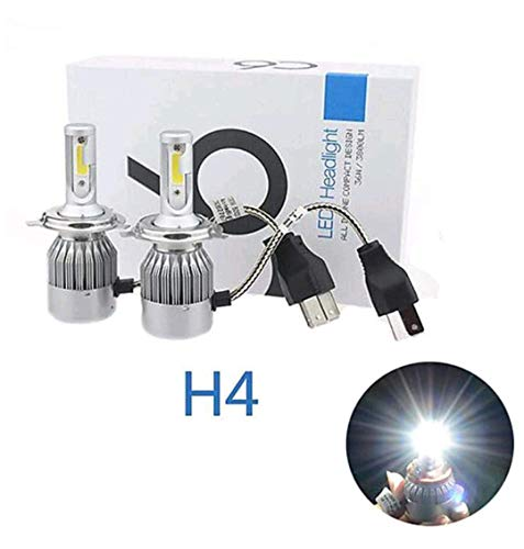 KARDECK C6 H4 6000K LED Headlight Conversion Bulb for Car and Bike (Pure White) - 2 Pieces Set Box