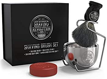 Luxury Shaving Brush Set Includes Badger Hair Shaving Brush Shaving Soap Stainless Steel Shaving Bowl Safety Stand - Shaving Kit for Men