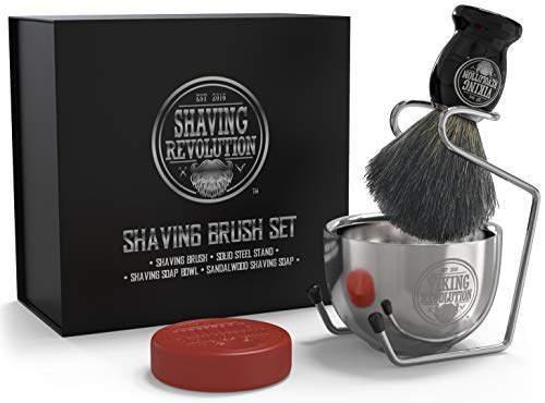 Luxury Shaving Brush Set, Includes Badger Hair Shaving Brush, Shaving Soap, Stainless Steel Shaving Bowl, Safety Stand - Shaving Kit for Men