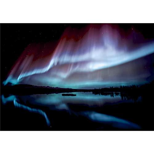 decomonkey Fototapete Polarlicht 350x256 cm Tapete Fototapeten Vlies Tapeten Vliestapete Wandtapete moderne Wand Schlafzimmer Wohnzimmer Nordlicht Landschaft Nacht Island