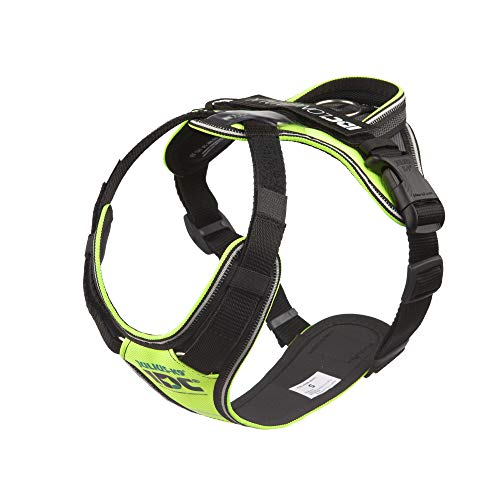JULIUS K-9 19LWH-GNE-S IDC Longwalk Reflective No Pull Dog Walking Vest Harness for Small Sized Dogs from 19.8 to 33 Pounds, Size S, Neon and Gray