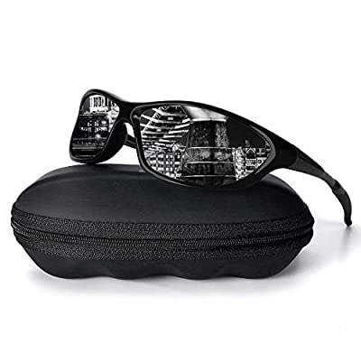 Polarized Sports Sunglasses For Men Women Driving Cycling Fishing 100% UV Protection Glasses 2101-Bright Black Frame/Black Lens
