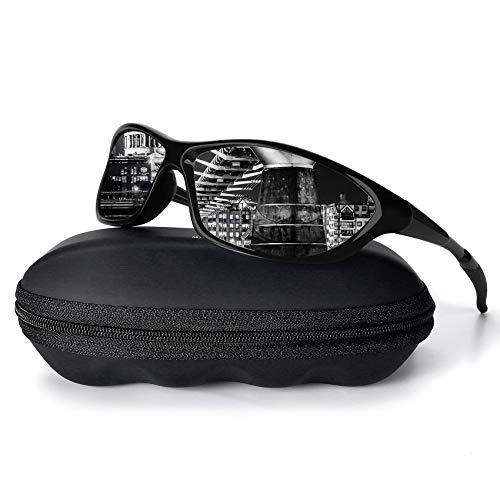 MXNXEU Sonnenbrille Herren Polarisierter Sportbrille Superleichtes Rahmen Outdoor Damen UV400 Schutz Fahren Sonnenbrille(Schwarze Helle/Schwarz)