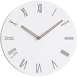 Stephanie Imports Modern Minimalist Wood on White (Roman) Wall Clock