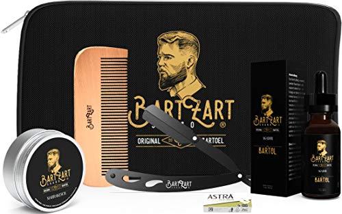 BartZart Bartpflege Set mit Rasiermesser I hochwertigem Bartöl I natürlichem Bartwachs I Bartkamm aus Holz I Moschus Duft