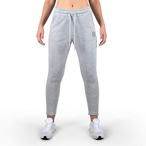 MOROTAI Box Sweatpants Jogginghose Damen - Freizeithose Sweatpants Trainingshose - Fitness Pants Elastischer Bund - Fitness Hose - Hellgrau - L