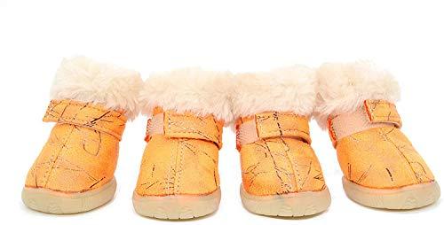 Zapatos De Invierno para Perros Botas De Lana para Mascotas Zapatos para Perros Pequeños, Medianos Y Grandes para Deporte Al Aire Libre Orange-4#