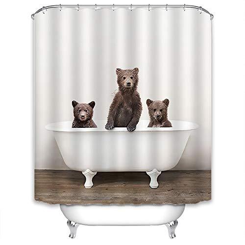 Xlabor Süß Tier Duschvorhang Badewannevorhang Wasserdicht Anti-Schimmel Stoff inkl. 12 Duschvorhangringe für Badezimmer DREI Bären 240x200cm