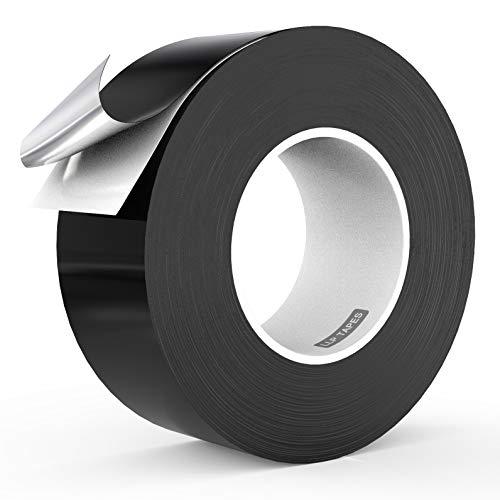 LLPT Cinta de aluminio negro de 5cm x 50 m 3.94 mil Adhesivo de alta temperatura para trabajo pesado Sellado de HVAC Cinta para conductos de aire frío y caliente para reparación de tuberías de metal