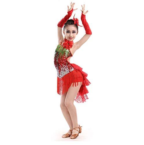 Fuyingda Vestido Latino sin Espalda con Flecos para niños - Lentejuelas para niñas Salsa Tango Vestido de Baile Competencia Danza Desgaste