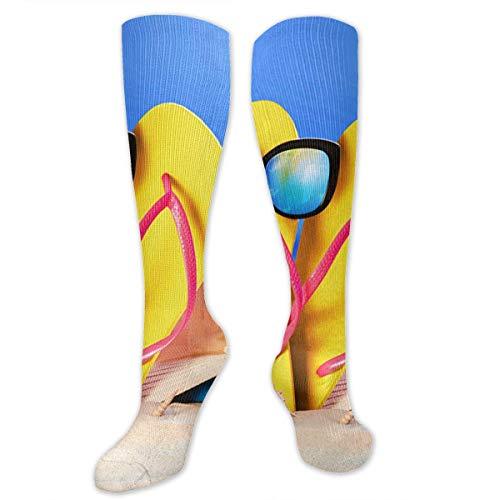 Wfispiy Summer Coast Towel Starfish Sand Flip-Flops Women&Men Socks Dress Socks Length 19.7in/Width 3.4in Polyester Material Knee High Socks Girls Socks Mid Stockings Personality Socks