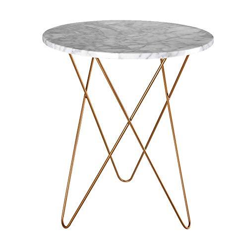 Home&Selected Fineer/ronde Scandinavische tafel, marmer, voor woonkamer, salontafel, telefoon, tafellamp (grootte: 50 x 60 cm) Modern design 50*60CM