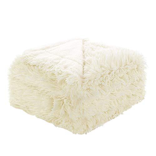 Sourcingmap, coperta in finta pelliccia sintetica, 198,1 x 228,6 cm, coperta decorativa a pelo lungo, leggera, in microfibra, per letto, mantiene il calore per anni, beige