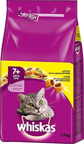 Whiskas 7+ Senior Katzenfutter Trockenfutter mit Huhn 6 x 1.9 kg