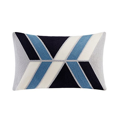 INK+IVY II30-758 Aero Embroidered Abstract Decorative Pillow 12×20 Blue