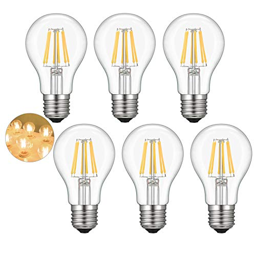 Kohree A19 Vintage Edison LED Bulb 60W Equivalent, 2700K Soft Warm White, 6W E26 Base LED Filament Light Bulbs Dimmable for Restaurant, Home, Reading Room, 6 Packs