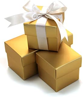 Koyal 2-Piece 50-Pack Square Favor Boxes, Gold