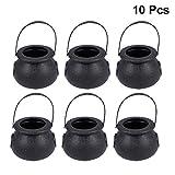 BESTOYARD 10pcs Black Plastic Cauldron Candy Holder Pot with Handle for Halloween (Black)