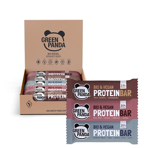 GREEN PANDA® Vegane Proteinriegel ohne Zucker | 12 x 30g Bio Protein Bars | Vegane Snacks für Muskelaufbau und Regeneration | Mix Box 3 Sorten gemischt