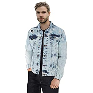 Men's Denim Jacket Washed Casual Trucker Jean Jacket for Men