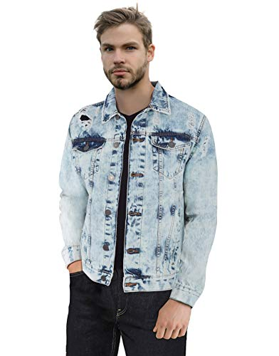 X RAY Mens Slim Denim Jacket Ripped Casual Trucker Distressed Jean Jacket for Men
