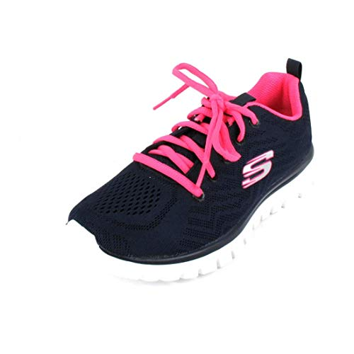 Skechers Tenis para mujer Graceful - Get Connected, azul (Azul marino / rosa encendido), 38 EU