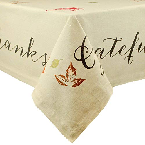 DII 100% Cotton, Machine Washable, Printed Kitchen Tablecloth For Dinner Parties, Fall, Holidays & Thanksgiving - 60x120