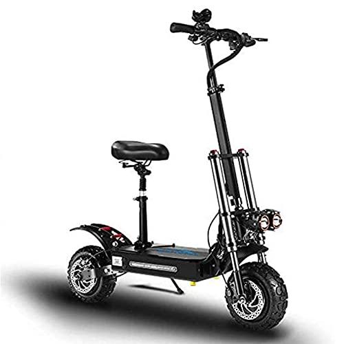 Scooter eléctrico para adultos, bicicleta de montaña todoterreno de doble tracción de 11 pulgadas, 5600 W, 60 V 21 Ah 80 km de duración de la batería Súper Scooters eléctricos plegables para adultos