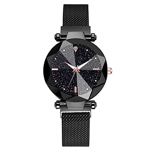 Nihlsen Nuevo Reloj de Cielo Estrellado + Conjunto de Pulsera, Reloj de Estilo Coreano, Moda Luminosa, Hebilla magnética Perezosa Salvaje, Reloj de Mujer Elegante a la Moda
