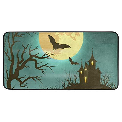 Mr.XZY Alfombra de Halloween para habitación de mascotas/dormitorio/cocina redonda luna terror castillo de horror antideslizante almohadilla de espuma 2010298