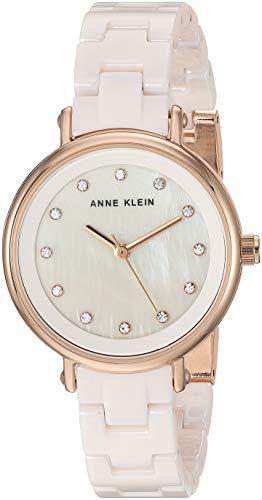 Anne Klein Women's AK/3312LPRG Swarovski Crystal Accented Rose Gold-Tone and Light Pink Ceramic Bracelet Watch