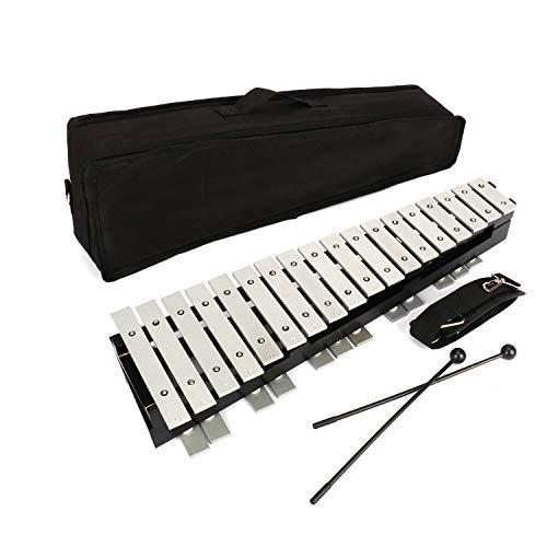 ybaymy 卓上 鉄琴 30音 折りたたみ式 マレット2本 収納ケース付き打楽器 音階付き鍵盤