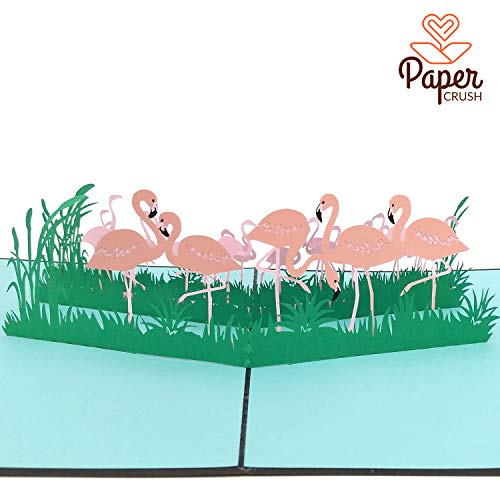PaperCrush® Pop-Up Karte Flamingo - Handgemachte 3D Geburtstagskarte mit Flamingos zum Geburtstag, Lustige Flamingokarte inkl. Umschlag