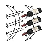 Nijoam Wall Mounted Wine Rack, Wine Bottle Holder, Metal Decorative Wine Racks Organizer, Wine Storage Shelf Home & Kitchen, Set of 2(Black)