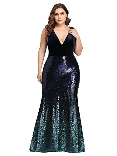 Ever-Pretty Womens Plus Size Double V-Neck Maxi Cocktail Dress for Women Blush US 18 Navy Blue