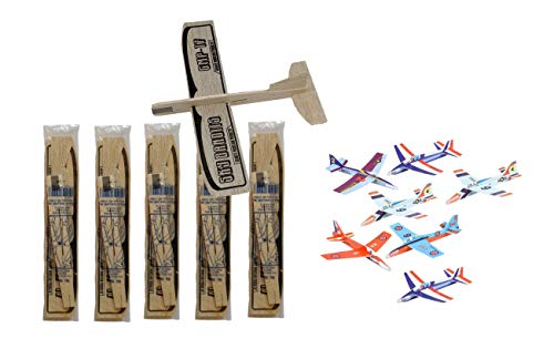 GRANITE MOUNTAIN PRODUCTS Balsa Wood and Styrofoam Airplane Toys Set - 6 Balsa Glider Kits and 6 Foam Model Toy Airplane Kits   12 Total Planes   Classic Toys Perfect for Party Favors, Parties, BBQ's