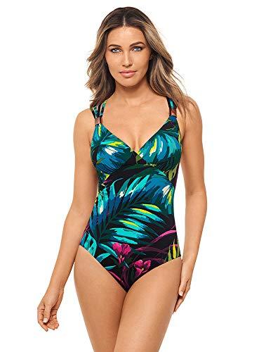 Amoressa Women's Swimwear Horizon V-Neckline Soft Cup Strappy Back One Piece Swimsuit, Jungle,10