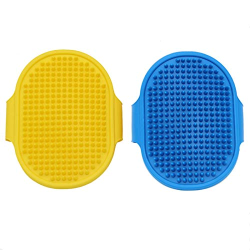 N/B Dog Grooming Brush and Massager Comb Pet Shampoo Bath Brush Soothing Massage Rubber Comb Adjustable Ring Handle, Suitable for Long Short Haired Dog and Cat Grooming Brush 2Pcs