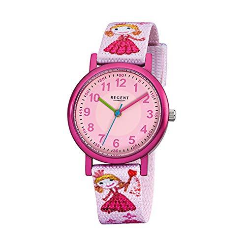 Regent Kinder-Armbanduhr rosa Analog F-949 Textil-Armband URF949 Analoguhr